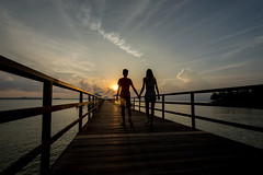 Walking into the sunset with you (jh_tan84) Tags: sunset montigo resort sun clouds jetty walk blue light landscape