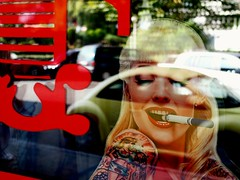 Cheers! (Serivanov22) Tags: summertime summer reflection reflect reflected reflections tatoo colorfull color lady wonder wow glass red streetscene streetlife street olympus omd em10 olympusomdem10 sigma30mmf28 sigma blonde