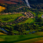 Flying hot air balloon over St. Jacobs Ontario Canada thumbnail