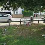 White Hart Lane - Litter and Shopping Trolley on the green # 1 thumbnail