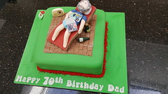 Garden Cake (Victorious_Sponge) Tags: man relaxing garden deck chair birthday cake wine asleep 50th 60th 70th 80th