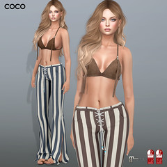 COCO @Knot&Co. (cocoro Lemon) Tags: coco newrelease knotco suede bratop stripe pants mesh fitted maitreya slink
