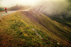 Mountainbiker (Chrisnaton) Tags: serfaus austria mountains biker alpine path trail lazid foggy outdoorsport biking mountainbiking landscape