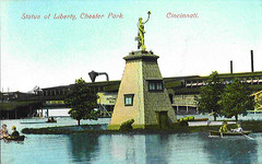 Chester Park -  Statue of Liberty and Lake (Brett Streutker) Tags: cincinnati coney island kings skyline chili emerald amusement parks fair roller coaster ferris wheel car suspension bridge northern kid kids children child fun summer play happy time grandma grandpa subway queen city sunlite pool swimming west chester park kentucky reds baseball crosley field wlw radio ohio river steam boat riverboat steamboat