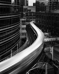 Go With the Flow (Brady Baker) Tags: chicago america usa us illinois city cityscape urban midwest heartland subway train track motion movement blur speed building glass brick window reflection blackandwhite contrast morning architecture street transportation outdoor move elevated l