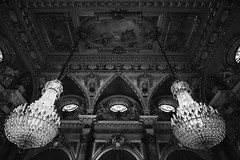 The Great Dinning Hall (SopheNic (DavidSenaPhoto)) Tags: monochrome dinningroom mansion fuji newport rokinon12mmf2 thebreakers blackandwhite xe1 chandelier