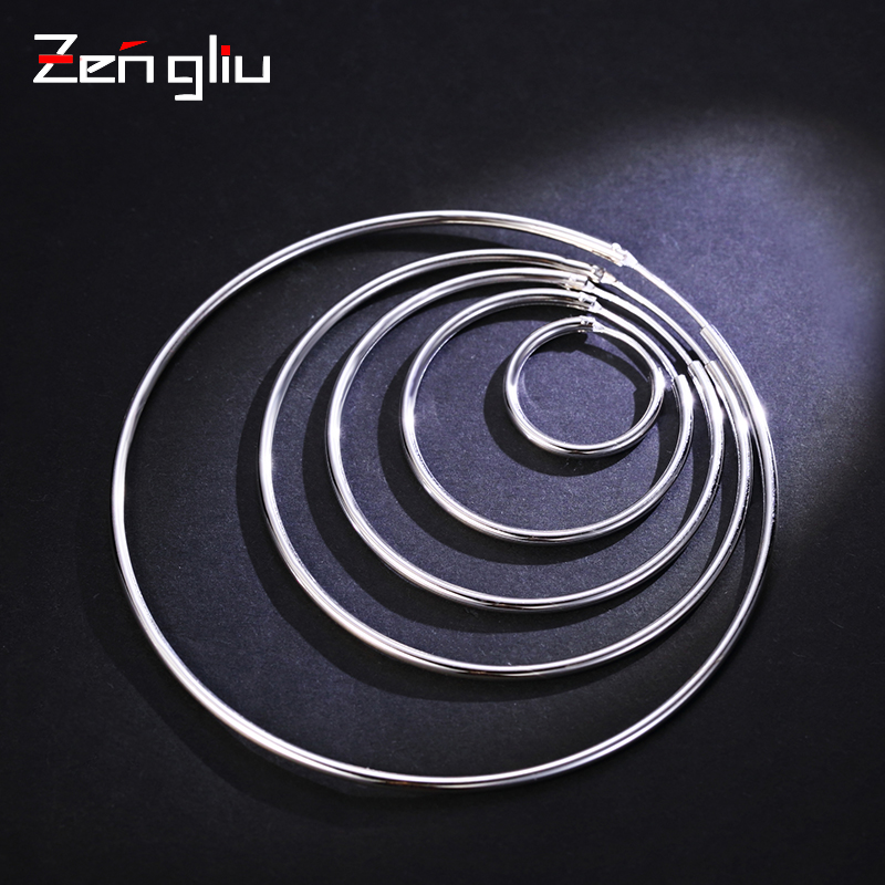 925 silver ear ring size on South Korea female temperament earring earing Round Hoop Earrings Ear jewelry simple atmosphere