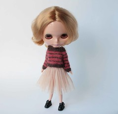 Blythe doll clothes, Stripes sweater for Blythe, Mohair doll pullover, Blythe knit outfit, Many colored Blythe jumper