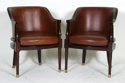 Two Hancock Moore Leather Barrel Back Chairs ($582.40)