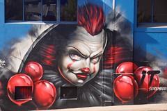 A Clown Appears in Gipps Street (adamsgc1) Tags: clown gippsstreet brisbane australia streetart art it red evil