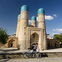 Uzbekistan (My Planet Experience) Tags: bukhara buxoro chorminor charminar boy man bicycle bike madrassah mosque blue dome cupola unesco worldheritagesites muslim architecture silk road route central asia oʻzbekiston узбекистан uz uzbekistan ouzbékistan myplanetexperience wwwmyplanetexperiencecom