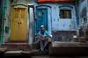 Newspaper reader! (ashik mahmud 1847) Tags: bangladesh nikkor d5100 man newspaper morning color background street pattern