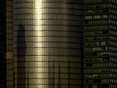 Shanghai - Une tour de Pudong au soleil couchant. (Gilles Daligand) Tags: chine china shanghai pudong tour building arcitecture batiment verre reflets sunset soleilcouchant détails graphisme sony hx50v architecture