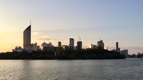 Sunset over QUT Gardens Point and Brisbane city, Queensland, Australia