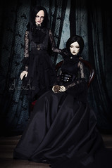 Gothic Pair (AyuAna) Tags: bjd ball jointed doll dollfie ayuana design handmade ooak clothing clothes dress set outfit victorian fantasy gothic style ordoll limos orlando hybrid