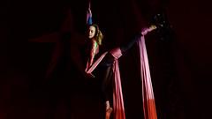 Circus (2) : acrobat in action (Franck Zumella) Tags: aerialist trapeze cirque spectacle vol acrobate acrobat acrobatique artiste grace danse mouvement artistique circus light colors flying europa pink red