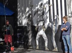 The artist and his wall : Levalet (Jeanne Menjoulet) Tags: levalet streetart rueoberkampf paris artiste portrait