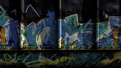 Train Graffiti (Perry J. Resnick) Tags: 2017 nashvilletn pjresnick perryjresnick pjresnickgmailcom pjresnickphotographygmailcom ©2017pjresnick ©pjresnick vehicle fujinonxf23mmf14 xf23mm xf23mmf14r black light fuji fujifilm noir atmosphere atmospheric urban metal white texture angle shape minimal minimalist minimalism detail fujinon xf rectangle rectangular resnick rust orange green color colors xpro2 fujifilmxpro2 steel transporter train velvia fujivelvia graffiti colour 16x9 contrast