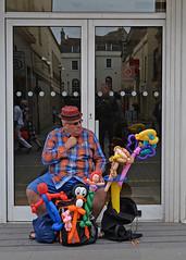 The Balloon Man.. (Harleynik Rides Again.) Tags: balloons man streetlife bath reflections nikondf harleynikridesagain inexplore explore