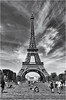 Eiffel Tower, Paris (Sally E J Hunter) Tags: eiffeltower noiretblanc blackwhite blackandwhite zwartwit france paris parcduchampdemars champdemars