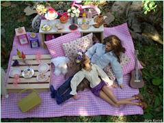 Picnic in the park (10.) (Mary (Mária)) Tags: barbie ken mattel fashion photography photoshoot piknik park dog outdoor scene diorama miniatures basket summer palette water model hervéléger jacksparrow johnnydepp flower flowerheadband pink pastel green lattern handmade marykorcek poodle camera roses love date romance