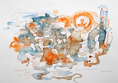 Watercolour abstract:..journey into the busy unknown world...life is a mystery... (Nadia Minic) Tags: abstract art symbolic painting watercolour journey busyworld unknown nadiaminic luxembourg life mystery
