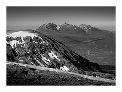An Teallach (Alan Hughes Mach) Tags: scotland alba anteallach highlands mountain mountains summit summits peak peaks mountainside munro landscape landschaft paysage outside outdoor outdoors snow road sky cielo ciel mono monochrome blackandwhite bnw bw blackwhite black grey white noiretblanc hill hills scenery countryside walk walking hike hiking scramble rock rocky sunlight sunshine sunny bright february winter canon frame fannaich uk