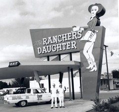 Ranchers Daughter Restaurant 1965 (Brett Streutker) Tags: restaurant cafe diner eatery food hamburger cheeseburger eat fast macdonalds burger vintage colonel sanders kentucky fried chicken big mac boy french fries pizza ice cream server tip money cash out dining cafeteria court table coffee tea serving steak shake malt pork fresh served desert pie cake spoon fork plate cup drive through car stand hot dog mustard ketchup mayo bun bread counter soda jerk owner dine carry deliver