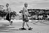 """""""F*%k that for a lark"""" (FimRay) Tags: blackandwhite bw monotone monochrome traditionalstreet street streetphotography people running keepfit older younger men shirtless exercise exercising"""