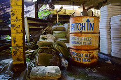 Pitch In (jna.rose) Tags: abandoned pitch trash can trashcan old vintage shenango clean litter deposit crusty paint urbandecay urbanexploration urban debris china factory burnt collapsing abandonedfactory abandonedbuilding abandonedplaces abandon dirty dirt color photography