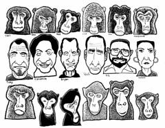 Monkey Sandwich (Don Moyer) Tags: face faces grid ink drawing moleskine notebook moyer donmoyer brushpen monkey