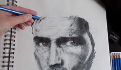 It's the Eyes (rachael242) Tags: actor sketch pencil ink black white paper inktober2017 inktober 2017 art artbook create artist craw drawing eraser ring binder