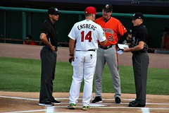 EXCHANGING LINEUPS (MIKECNY) Tags: umpire manager aberdeenironbirds tricityvalleycats astros orioles nypennleague minorleague homeplate