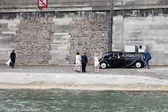 Bride and Groom Leave In Classic Car - On Shore Of Seine (dcstep) Tags: n7a1238dxo paris7earrondissement îledefrance france fr vikingcruises allrightsreserved copyright2017davidcstephens dxoopticspro1142 vacation travel