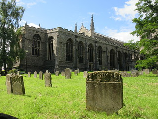 Gravestones and view to St. Mary's Church, Bury St. Edmunds, England