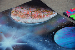 Space art (radargeek) Tags: plazadistrict 2016 september liveattheplaza art dawnjaiye planets painting