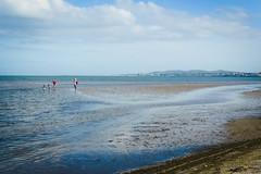 Sandymount at Low Tide (Carmel..) Tags: people water sand sky blue beige lowtide hills seascape sandymount codublin ireland
