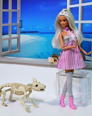 Who's following me? (Annette29aag) Tags: barbie doll photography platinumpop rebodied rebody fashionista madetomove articulated pink rat skeleton