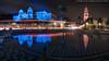 Plaza de Panama Fountain with trails (20170726-DSC08103-Edit) (Michael.Lee.Pics.NYC) Tags: sandiego balboapark plazadepanamafountain californiabuilding houseofcharm museumofman mingeiinternationalmuseum reflection night longexposure lighttrail traffictrail elprado architecture museum cityscape composite blend tiles mosaic color illumination sony a7rm2 zeissloxia21mmf28