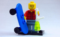 Brick Yourself Custom Lego Figure  Happy Guy with Skateboard and Smoking Implement