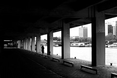 Along the Seine (pascalcolin1) Tags: paris13 femme woman seine fenêtres windows photoderue streetview urbanarte noiretblanc blackandwhite photopascalcolin