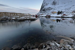 S-wards view over Reinevagen-gulf to Reinehalsen-isthmus and Reinebringen-mount. Reine-Moskenes-Lofoten-Nordland-Norway. 0341