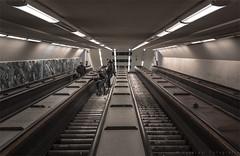 Pick up your bike (henny vogelaar) Tags: netherlands rotterdam maastunnel tunnel people cyclists escalators