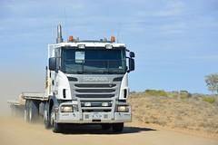 Scania (quarterdeck888) Tags: trucks photos truckphotos australiantrucks outbacktrucks workingtrucks primemover class8 overtheroad interstate frosty quarterdeck jerilderietrucks jerilderietruckphotos flickr bdoubles lorry bigrig highwaytrucks interstatetrucks nikon twinsteer 8x4 scania tilttray