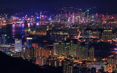 Laser Night (3dgor 加農炮) Tags: kowloonpeak nightscape landscape nisi gfx gf110 laser harbor victoriaharbour vivid