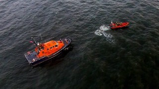 Drone image of Porthcawl lifeboat training with Mumbles lifeboat. Credit: Peter Fowler
