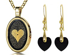 I Love You Necklace & Heart Earrings (globalepro) Tags: 120languagesinscribed crystal earrings gold goldplated heart heartearringsandnecklaceset iloveyou iloveyounecklace inscribed jewelry jewelryset languages necklace onyx plated