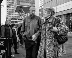 Manchester 070 (Peter.Bartlett) Tags: manchester bag niksilverefex unitedkingdom people city urbanarte peterbartlett man urban woman monochrome uk walking couple lunaphoto bw streetphotography ricohgr blackandwhite candid noiretblanc england gb