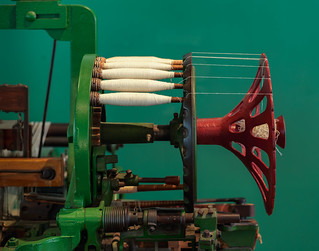 Old weaving loom bobbins