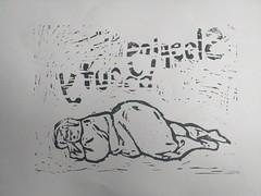 Ytuaeb gnipeels (id-iom) Tags: idiom lino print graffiti vandalsim street urban art sleeping beauty cut epic fail